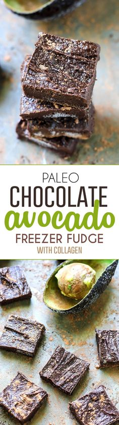 Paleo Chocolate Avocado Freezer Fudge [ with collagen ]  Just 5 ingredients for these easy, no-bake fudgy treats!