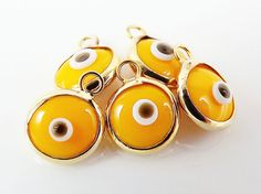 5 Mini Egg Yellow Evil Eye Nazar Artisan Glass by LylaSupplies, $4.50