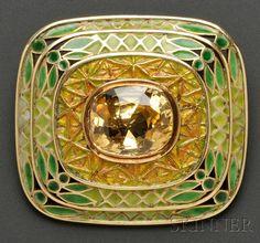 Arts & Crafts Enamel Gem-set Brooch, Tiffany & Co.
