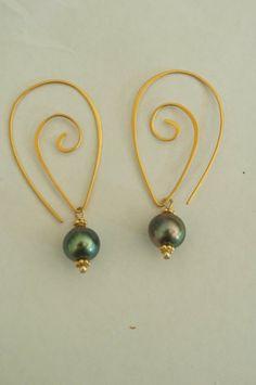Spiral Tahitian Pearl Earrings