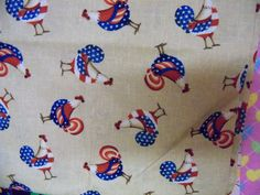 Rooster Patriotic cotton fabric,1 yard by susiesfabrics on Etsy