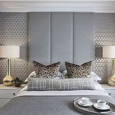 Sophie Paterson Interiors Funky guest bedroom at the Esher project with lots of retro geometric prints in a grey and gold colour scheme Gray Bedroom, Trendy Bedroom, Home Bedroom, Modern Bedroom, Bedroom Furniture, Bedroom Decor, Master Bedrooms, Bedroom Inspo, Bedroom Ideas