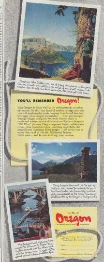 """Description: 1948 OREGON TRAVEL vintage print advertisement """"You'll Remember Oregon!"""" -- Sapphire-blue Crater Lake ... Chief Joseph's Monument ... The Oregon Coast Highway ... See All Of Oregon By Traveling Scenic Highways -- Size: The dimensions of the half-page advertisement are approximately 5.25 inches x 13.5 inches (13.25 cm x 34.25 cm). Condition: This original vintage half-page advertisement is in Excellent Condition unless otherwise noted ()."""