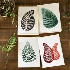 Abstract art cards,  ferns, black, red, green,  4 pack of cards, watercolor painting, illustrated design by yayhooray on Etsy