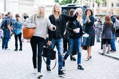 The Best of London Street Style - LFW Street Style Photos Spring 2015 - Elle Too boring for me it would have of been nice if they had a pop of color like a neon or something unexpected...