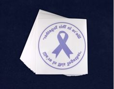 Purple Ribbon Car Window Decals. These transparent purple ribbon window decals stick on the inside of your car window. Car window decals are 4 inches. Packaged 25 decals per pack. Product Code: DECAL-4