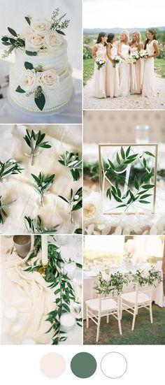 simple elegant blush olive greenery wedding color ideas 2017