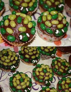 turtle turtle- http://bakedbybrittney.blogspot.com/2012/04/turtle-cupcakes.html