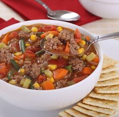 Inexpensive, healthy soup recipe that is an easy weeknight dinner and can feed a crowd. Flavorful soup is always a winner Easy Hamburger Soup, Hamburger Vegetable Soup, Vegetable Soup Recipes, Veggie Soup, Hamburger Stroganoff, Hamburger Recipes, Healthy Hamburger, Hamburger Patties, Vegetable Stew