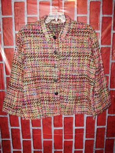 2f6c3a93cc6 Units Womens Blazer Size 16 Multicolored Long Sleeved Button Front A32   Units  Blazer Plus
