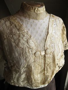 Antique Handmade Mixed Lace Bodice with Hand Embroidered Silk Trim