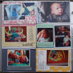 Super simple layout - mostly photos, with typed journalling & no embellishments.  Project Life Baby Album – Week 4