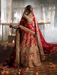 Red Lehenga Choli - saree.com - CCAA2046