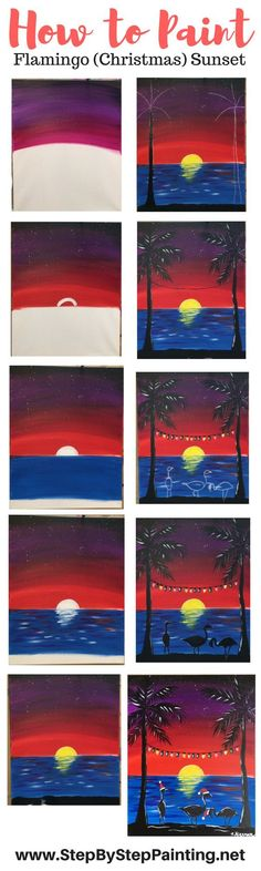 FULL tutorial on website! How To Paint A Flamingo (Christmas) Sunset - Tracie's Acrylic Canvas Tutorials