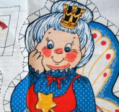 Tooth Fairy Fabric Panel Make Pillow w Pocket Teeth Crown 16 Inches #Unbranded