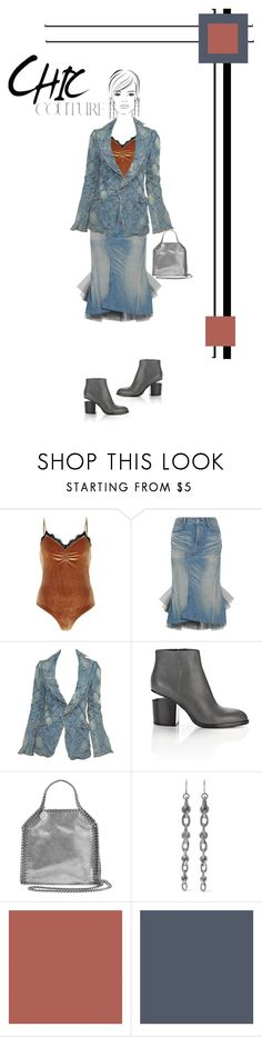 """Denim...Chic Couture"" by onesweetthing ❤ liked on Polyvore featuring River Island, Junya Watanabe, Alexander Wang, STELLA McCARTNEY, Bottega Veneta and SANDERSON"