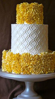 yellow flowers, yellow weddings, contemporari white, flower cakes, white weddings, white cakes, yellow cakes, fondant flowers, white wedding cakes