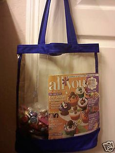 80e891820a Clear Vinyl Blue Trim Open Top Tote Bag Purse Jelly Beach Shopping Security  in Clothing