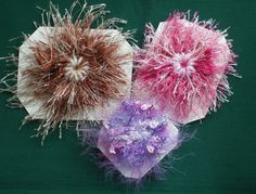 Set of Three Brooches Collages,Flower  Loom ,Various sizes, Pink,Bronze,Purple £5.00