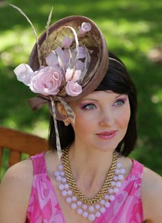 Brown disc shape fascinator, Kentucky Derby, Royal Ascot hat, horse racing, wedding hat, cocktail hat by ExclusiveHats on Etsy https://www.etsy.com/listing/224754171/brown-disc-shape-fascinator-kentucky