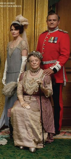 Downton Abbey Christmas Special (2013). Lord and Lady Grantham and the Dowager Countess. Costume Designer: Caroline McCall
