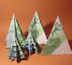 Geldschein Weihnachtsbäume