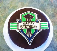 Chocolate Seattle Sounders Birthday Cake - Party Cakes by Amy