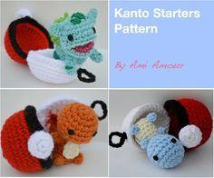 Kanto Starters Crochet Pattern Set Amigurumi Pokemon
