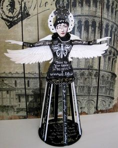 Large Santos Cage Doll Black and White ALTERED ANGEL Published in Somerset Studio Gallery 2015 by IMGirl on Etsy