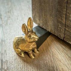 Gold Rabbit Door Stop