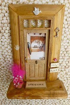 Fairy Door Bubblegum Pink Door w/Wood Stained Trim by apeekinside