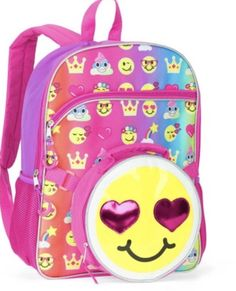 69e9b35daf Sony Emoji Backpack 16 inch Full-Size Backpack With Detachable Lunch Bag