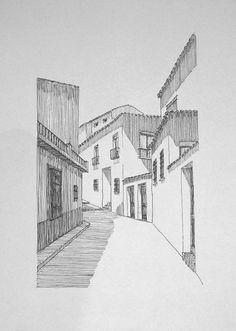Home Decoration Cheap Ideas Shadow Architecture, Architecture Drawing Art, Architecture Sketchbook, Art Sketchbook, Pencil Art Drawings, Cool Art Drawings, Art Drawings Sketches, Landscape Drawings, Landscape Art