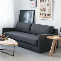 schlafsofas wohnzimmer schwarzes sofa elegant wohnzimmer einrichtung weiße ziegelwand