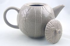 YEDI Fine Porcelain China 6 Cup (40 Oz) Teapot - Tan - Sweater Knit Collection