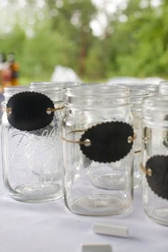 Mason Jars- like the twine and chalkboard tag--for the keg beer.