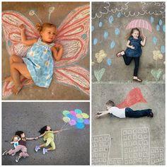 Sidewalk chalk photos! Super cute idea.