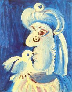 Pablo Picasso - Woman and l`oseau, 1971 Pablo Picasso Drawings, Art Picasso, Picasso Paintings, Oil Paintings, Landscape Paintings, Picasso Portraits, Watercolor Artists, Oil Painting Abstract, Painting & Drawing