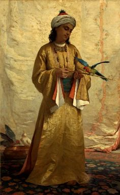 Reinette: Traditional Costumes in Portrait Paintings- Portrait of a Moorish girl with parakeet by Henriette Brown, 1875