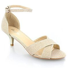 ba88a1e4ef9f Aarz Women Ladies Evening Party Casual Prom Low Heel Sandal Shoes Size (  Gold