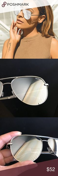 """Quay x Desi HIGHKEY In Silver Worn a couple of times but in good condition ( no visible scratches or anything )                                                                      As you can tell by the last picture the only thing """"wrong"""" is that the little plastic thing fell off and I have no idea where it is. Quay Australia Accessories Sunglasses"""