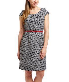 Love this Black & White Belted Cap-Sleeve Dress on #zulily! #zulilyfinds