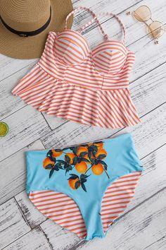7b79aa3efe1c1 Frigirl Tangerine Stripes Bikini Set