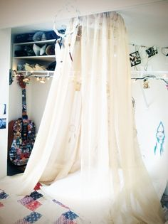 dreamcatcher bed canopy nursery decor bedroom by bounded2earth & Siam White Bed Canopy- with white lights this will sparkle babyu0027s ...