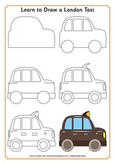 Learn to draw a London Taxi from Activity Village (printable)