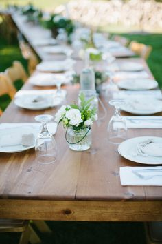 #OutdoorWedding Tables | Casual Elegance. See more of the wedding on SMP: http://www.StyleMePretty.com/2014/02/05/casual-walnut-orchard-wedding/ Abi Q Photography