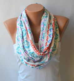 infinity scarf  aztec tribal patterned cotton jersey by bstyle, $20.00