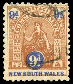 NEW SOUTH WALES - 1903-05 'COMMONWEALTH' Design Crown/NSW 9d brown & blue Perf 11 ACSC #N48 (SG 332), a couple… / MAD on Collections - Browse and find over 10,000 categories of collectables from around the world - antiques, stamps, coins, memorabilia, art, bottles, jewellery, furniture, medals, toys and more at madoncollections.com. Free to view - Free to Register - Visit today. #Stamps #MADonCollections #MADonC Commonwealth, South Wales, Bottles, Mad, Stamps, Coins, The Past, Auction, Collections