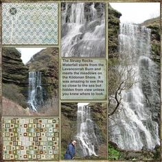 Struey Rock waterfall on the Isle of Arran. Our photographer took us - it is just down around a wee little bend from the seals Scrapbook Layout Sketches, Scrapbooking Layouts, Scrapbook Cards, Scrapbook Frames, Travel Journal Scrapbook, Vacation Scrapbook, Sketch 4, Water Pictures, Travel