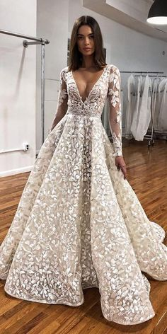 27 best wedding dresses for celebration best wedding dresses a line with illusion lan . 27 best wedding dresses for celebration best bridal gowns a line with illusion long sleeves v-neck floral appliques bert. Wedding Dress Trends, Best Wedding Dresses, Bridal Dresses, Wedding Gowns, Maxi Dresses, Dresses For Engagement, Short Girl Wedding Dress, Dresses For Weddings, Different Wedding Dresses